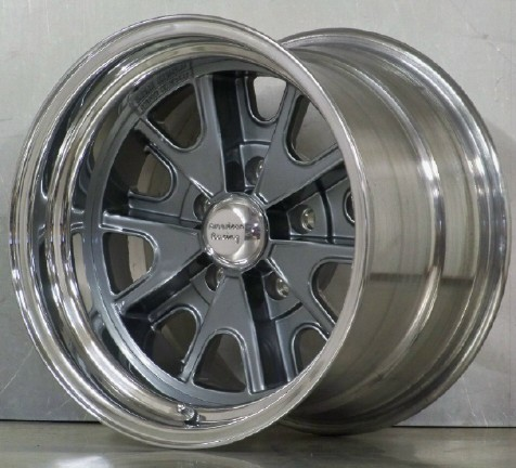 .427BC Shelby wheels with billet center cap Gunmetal gray