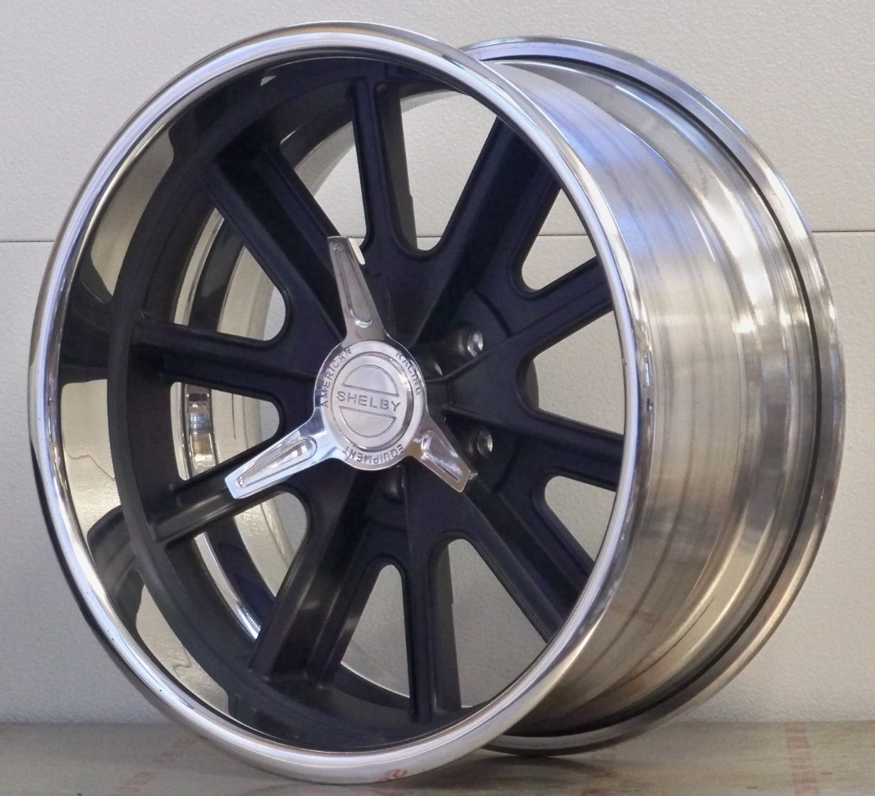 407S Shelby black soft look rim with spinners (price each)