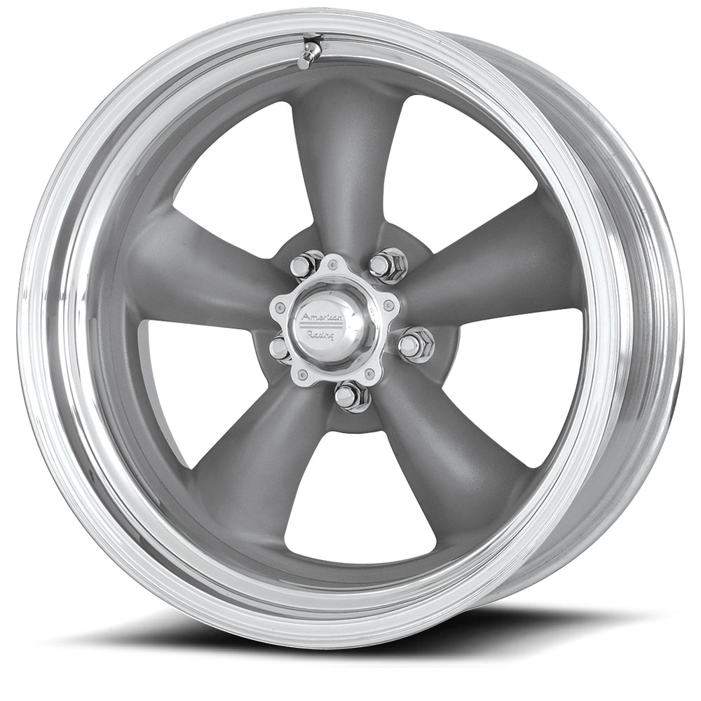 CL205 Torq Thrust II gray center polished lip (price per wheel)