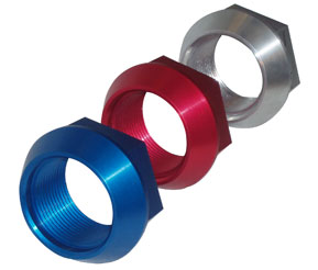 Hex nuts set of 4 anodized